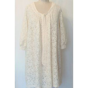 H&M IVORY FLORAL LACE 3/4 SLEEVE SWING DRESS 8